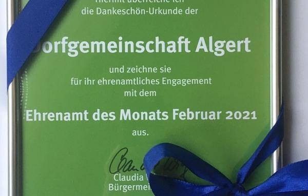 """Urkunde für das """"Ehrenamt des Monats Februar 2021"""" der Stadt Lohmar"""